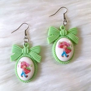 Handmade Strawberry Shortcake Drop Earrings Green